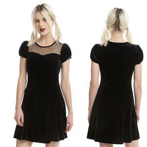 ❤️ HOT TOPIC ❤️ Black Velvet Swiss Dot Yoke Dress